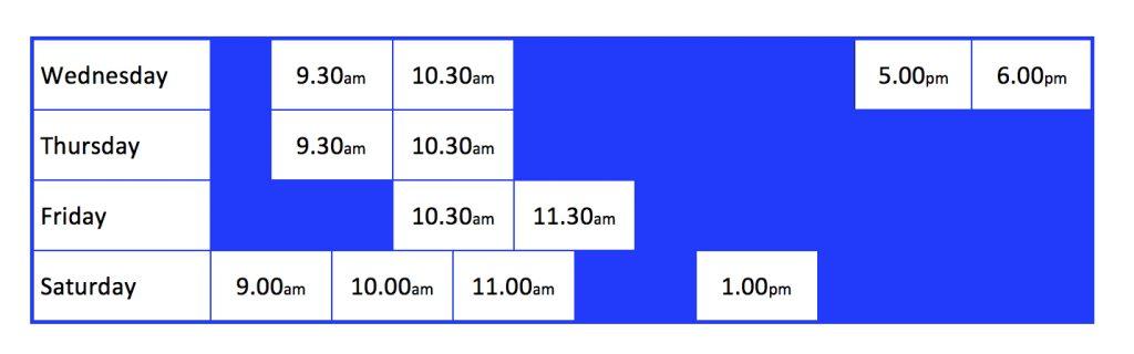 San Remo Timetable